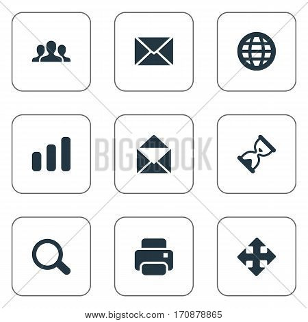 Set Of 9 Simple Application Icons. Can Be Found Such Elements As Web, Printout, Statistics And Other.