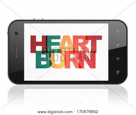 Health concept: Smartphone with Painted multicolor text Heartburn on display, 3D rendering