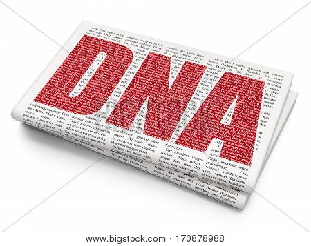 Healthcare concept: Pixelated red text DNA on Newspaper background, 3D rendering