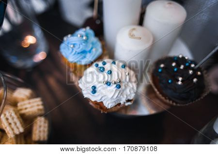 Candy Bar On Wedding Ceremony With A Lot Of Different Candies An