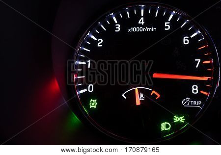 Close-up Photo Of Modern Car Tachometer