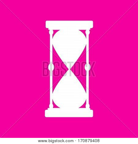 Hourglass sign illustration. White icon at magenta background.