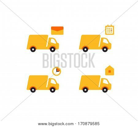 Delivery Trucks flat style design vector icon set