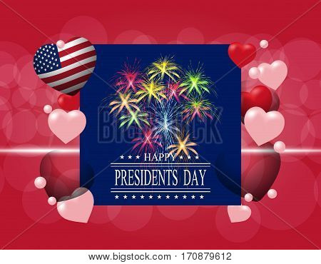 Presidents' Day. Greeting card or invitation. The inscription with the wishes of happiness. Celebratory fireworks. Stylized in flag colors. vector illustration