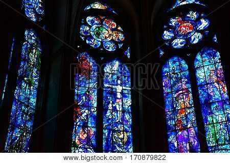 Reims France - july 25 2016 : stained glass window of the Notre Dame cathedral where the kings of France were crowned