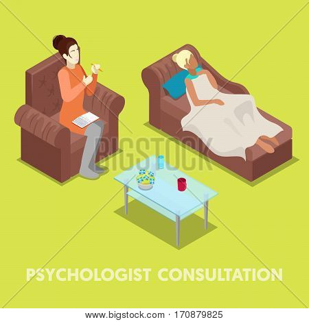 Isometric Psychologist Consultation. Woman on Psychotherapy. Vector 3d flat illustration