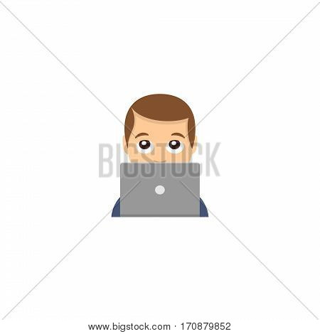 Abstract funny flat design man working on a laptop computer emoticon illustration