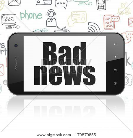 News concept: Smartphone with  black text Bad News on display,  Hand Drawn News Icons background, 3D rendering