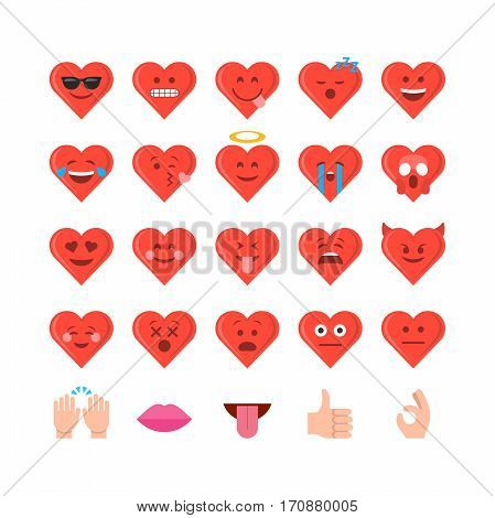 Abstract funny flat style valentines day emoticon icon set
