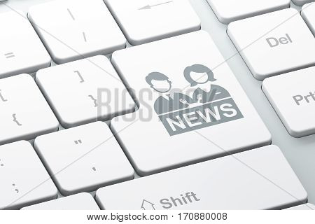 News concept: Enter button with Anchorman on computer keyboard background, 3D rendering