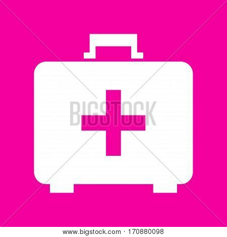 Medical First aid box sign. White icon at magenta background.