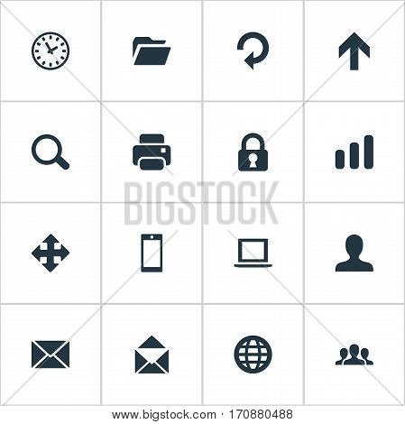 Set Of 16 Simple Application Icons. Can Be Found Such Elements As Smartphone, Arrows, Printout And Other.
