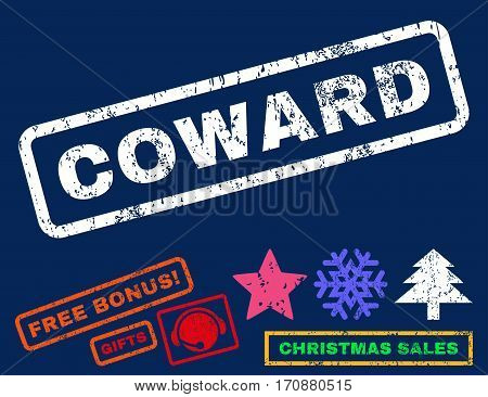 Coward text rubber seal stamp watermark with bonus christmas symbols. Caption inside rectangular banner with grunge design and scratched texture.
