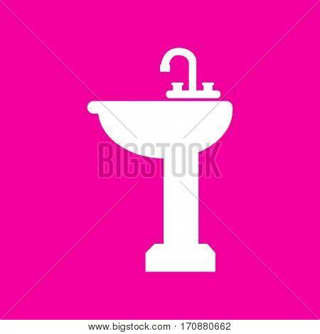 Bathroom sink sign. White icon at magenta background.