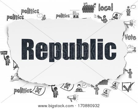Political concept: Painted black text Republic on Torn Paper background with  Hand Drawn Politics Icons