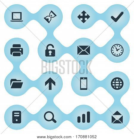 Set Of 16 Simple Practice Icons. Can Be Found Such Elements As Envelope, Notebook, Statistics And Other.