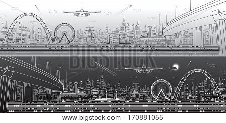 air, airplane, airport, amaze, architecture, art, background, bridge, buildings, business, city, concept, construction, create, creative, design, efficiency, electricity, energy, fly, industrial, industry, infrastructure, landscape, life, light, like, lin
