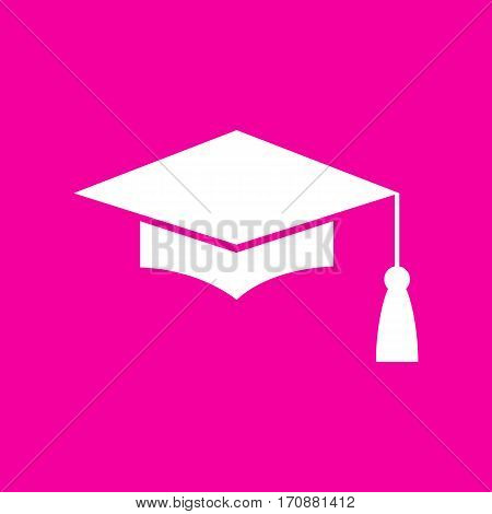 Mortar Board or Graduation Cap, Education symbol. White icon at magenta background.