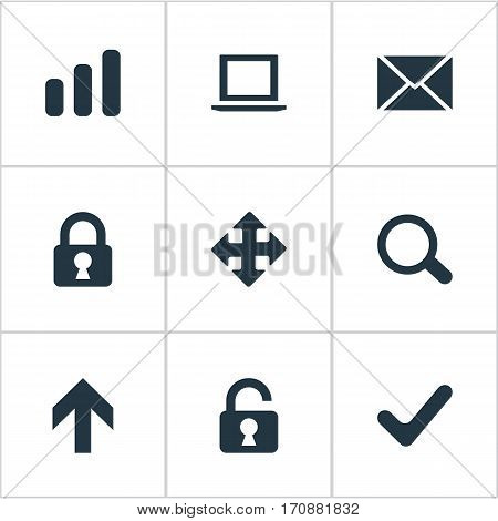 Set Of 9 Simple Practice Icons. Can Be Found Such Elements As Magnifier, Lock, Arrows And Other.