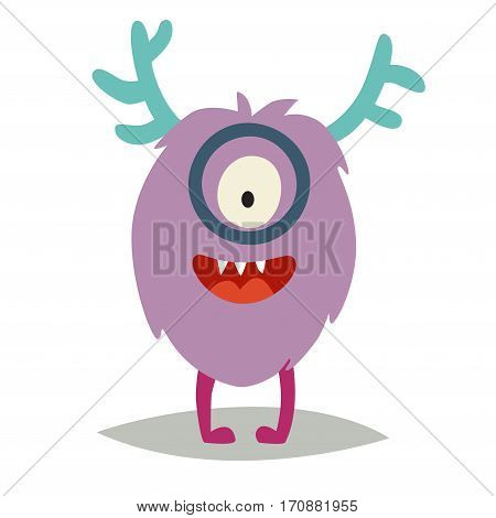 Emoji smart monster. Cute clever cyclop vector illustration. Cartoon funny emoticonlearner. Monster sticker flat cartoon style. Isolated on white background