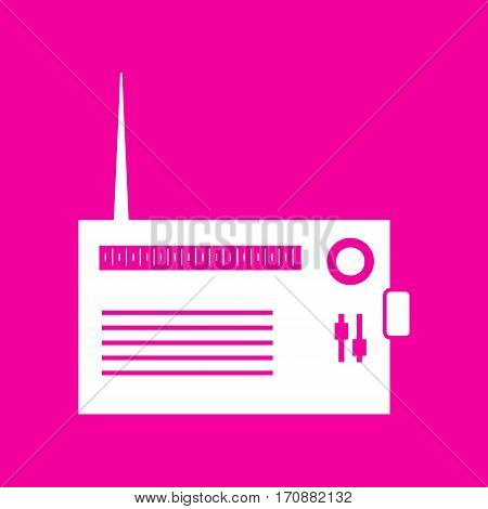 Radio sign illustration. White icon at magenta background.