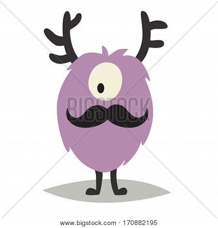 Emoji moustached monster. Cute cyclop vector illustration. Cartoon funny emoticon gentleman. Monster sticker flat cartoon style. Isolated on white background