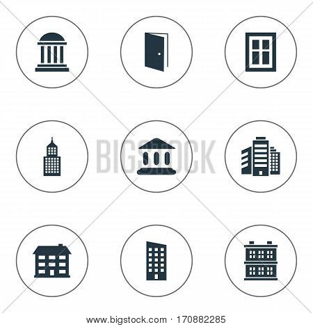 Set Of 9 Simple Structure Icons. Can Be Found Such Elements As Academy, Floor, Booth And Other.