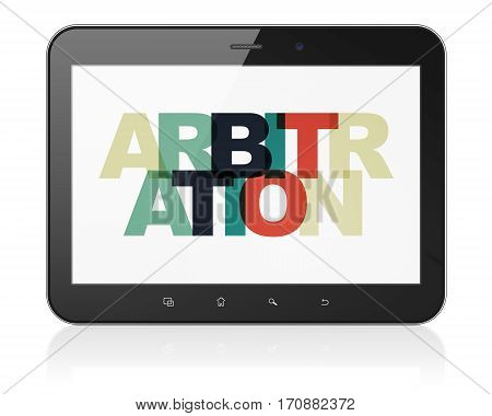 Law concept: Tablet Computer with Painted multicolor text Arbitration on display, 3D rendering