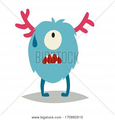 Emoji crying monster. Cute upset cyclop vector illustration. Cartoon funny emoticon. Monster sticker flat cartoon style. Isolated on white background