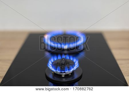 Gas burner in the kitchen closeup photo