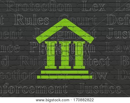 Law concept: Painted green Courthouse icon on Black Brick wall background with  Tag Cloud