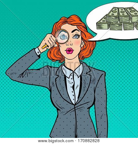Pop Art Amazed Business Woman with Magnifier Found Money. Vector illustration