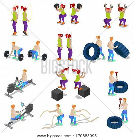 Isometric People on Crossfit Gym Workout and Exercises. Vector 3d flat illustration