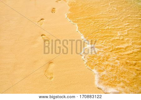 Footprints On The Tropical Beach At Daytime