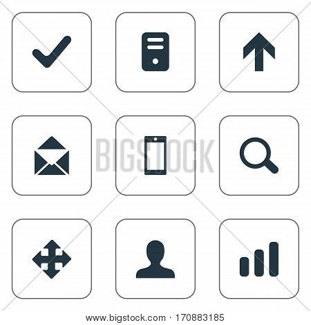 Set Of 9 Simple Apps Icons. Can Be Found Such Elements As Smartphone, Arrows, Computer Case And Other.