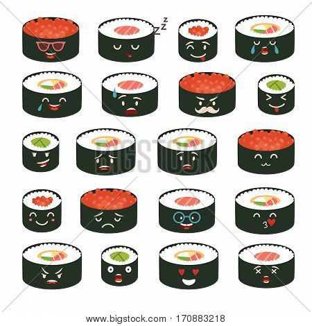 Sushi emoji vector set. Emoji sushi with faces icons. Sushi roll funny stickers. Food cartoon style. Vector illustration isolated on white background