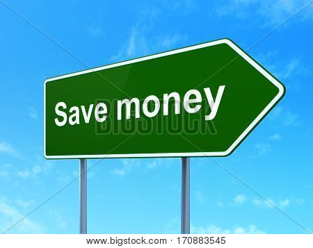 Money concept: Save Money on green road highway sign, clear blue sky background, 3D rendering