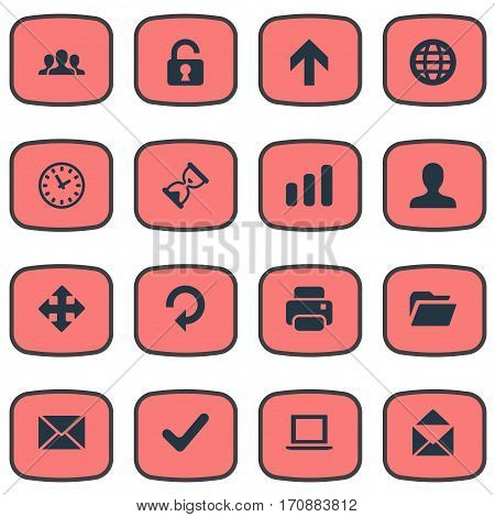 Set Of 16 Simple Practice Icons. Can Be Found Such Elements As Sand Timer, Community, User.