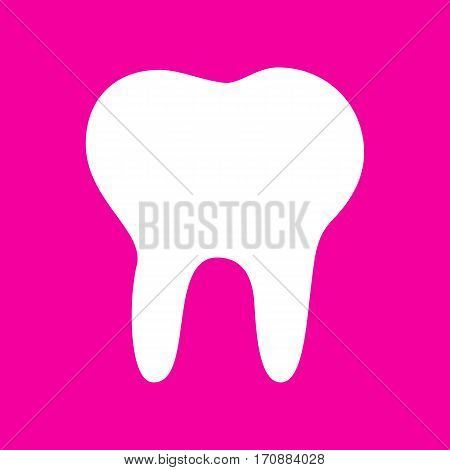 Tooth sign illustration. White icon at magenta background.
