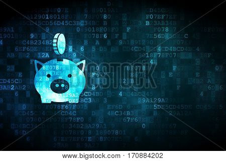 Money concept: pixelated Money Box With Coin icon on digital background, empty copyspace for card, text, advertising