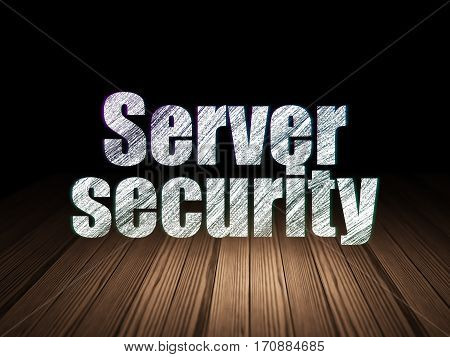 Protection concept: Glowing text Server Security in grunge dark room with Wooden Floor, black background