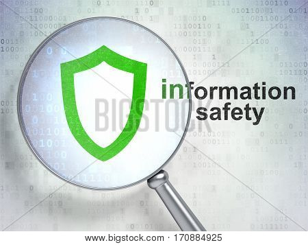 Safety concept: magnifying optical glass with Contoured Shield icon and Information Safety word on digital background, 3D rendering