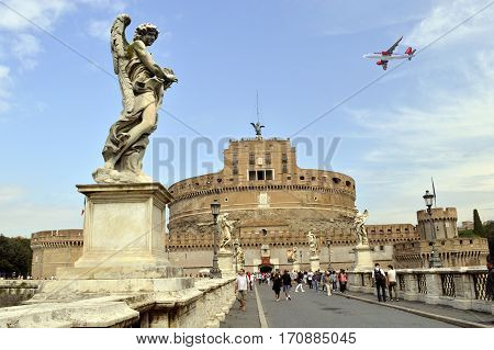 Rome Italy - September 15 2016 : St. Angelo Bridge crossing the river Tiber to the historical Castle of the Holy Angel