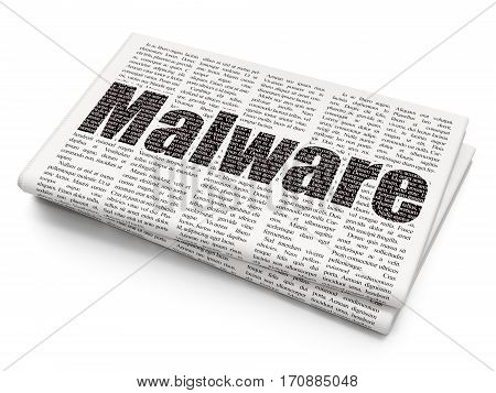 Protection concept: Pixelated black text Malware on Newspaper background, 3D rendering