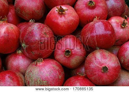 Fresh Red Ripe Pomegranates Close Up