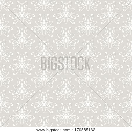 Floral light ornament. Seamless abstract classic pattern with flowers