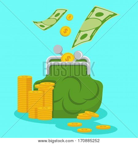 Retro Green purse with gold coins and banknotes. Wealth and prosperity, expense management. Flat vector cartoon illustration. Objects isolated on blue background.