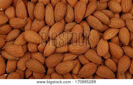 Raw Whole Almond Nuts Close Up Top View