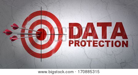 Success protection concept: arrows hitting the center of target, Red Data Protection on wall background, 3D rendering