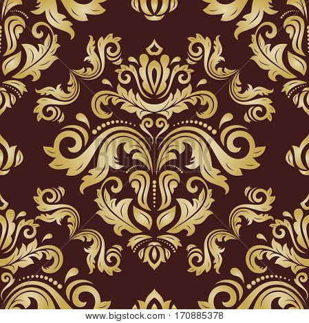 Seamless damask pattern. Traditional classic orient ornament. Brown and golden pattern